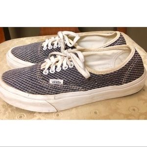 Vans blue and white woven low tops